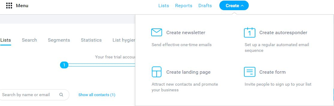 create an email list using Getresponse